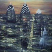 """PHILLY BY NIGHT"" Oil on canvas, 60"" X 48"", 2004."