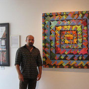 "Standing in front of ""SQUARE SPIN"" at the Milou Gallery in Miami. 2008."
