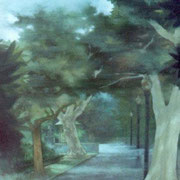 """RITTENHOUSE WEST"" Oil on canvas, 60"" X 36"", 2003."