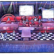 "Set Design for MCI Networks ""CLUB MCI"" Messa, Intergalactic 57 Chevy Concept, Set Designer, Scenic Artist, Carpenter. 2000"