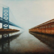 """BEN FRANKLIN BRIDGE"" Oil on canvas, 48"" X 60"", 2009, Commissioned by Villanova University School of Law, Permanent Art Collection."