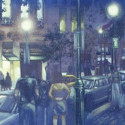 """18TH AND WALNUT"" Oil on canvas, 36"" X 48"", 2004."