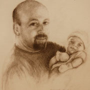 """Proud Father"", Pencil on fine art paper, 12"" X 9"""