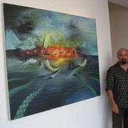 "Standing in front of ""DREAMSCAPE"" at the Milou Gallery in the Wynwood Art District, Miami. 2008."