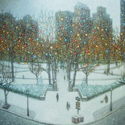 """RITTENHOUSE CHRISTMAS"" Oil on canvas, 36"" X 48"", 2009."