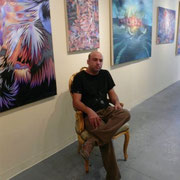 Sitting in front of my paintings at Galleria 1903 in Philadelphia. 2007.