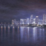 """MIAMI SKYLINE"" Oil on canvas, 24"" X 48"", 2010."
