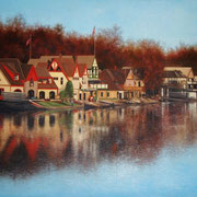 """BOATHOUSE ROW"" Oil on canvas, 48"" X 60"", 2009. Commissioned by Villanova University School of Law, Permanent Art Collection."