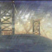 """MIDNIGHT STORM"" Oil on canvas, 24"" X 48"", 2002."
