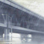 """BEN FRANKLIN BRIDGE/OLD CITY"" Oil on canvas, 24"" X 48"", 2002."