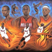 """Miami Heat ""Caliente"", Oil on canvas, 48"" X 60"", 2011."