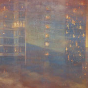 """ORANGE PHILLY"" Oil on canvas, 24"" X 48"", 2004."