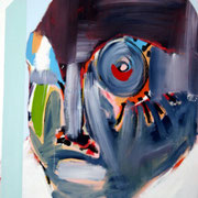 Homme derrière la fenêtre (1) / 2002 / Acrylique sur toile/ 100 x 81 cm