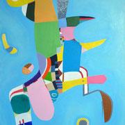 """""""Oiseau solaire"""" / 2012 / Acrylique sur toile / 100 cm x 80 cm"""