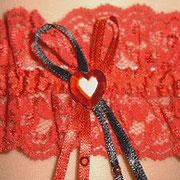 Strumpfband Classic rot mit Herz