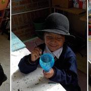 """Im Workshop """"Música y Arte"""" (Musik und Kunst) wurden im November 2013 fleissig Instrumente aus Recycling-Materialien hergestellt. Foto: Cisol, November 2013"""