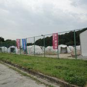 山元町避難所に設置されたテント村