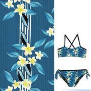 Frangipani all over stripe turquoise