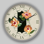 Hibiscus Tiles Clock