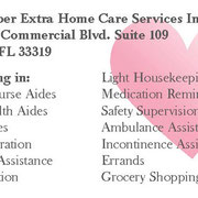 Senior Super Extra Home Care Services Inc business card back