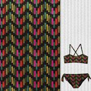 Croton block chevron in girl's two piece swim suit