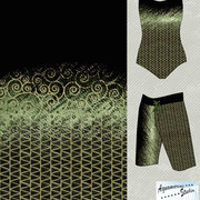 Earthed: Ladies swimsuit and man's board shorts with Scrolls dots triangle single border