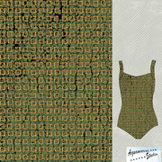 Earthed: Ladies swimsuit in gold squares olive