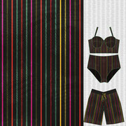 Croton pin stripe with ladies two piece swim suit and boys board shorts