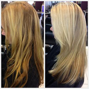 Hair Color - Full head of platinum blonde and ash blonde highlights Hair Cut- Long heavy layers