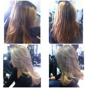 Hair Color- Balayage Hair, Ash brown roots and ultra blonde ash blonde on ends. Hair Cut- Long full layered hair cut