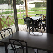 lot et bastides  chalets sleeps 4 living room and terrace