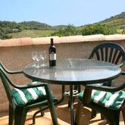 terrasse gite dans l'Aude label pays cathare gites de france à Quintillan