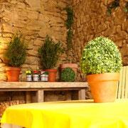 terrasse gite pays cathare dans l'Aude label gites de france à Pouzols minervois