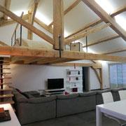 salon chambre mezzanine gite pays cathare à Raissac d'Aude