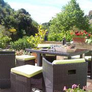 jardin du gite pays cathare à lastours dans l'Aude labellisé gites de france