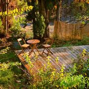tarrasse bois gite Pays Cathare Gites de France dans l'Aude à Ornaison en Corbières