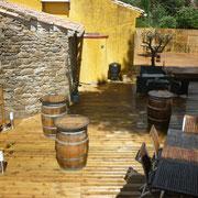terrasse gite pays cathare et gites de france dans l'Aude à Ribaute en Corbières