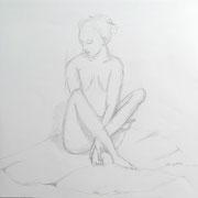 Elvira Mewes . Frauenakt . 2013 . Zeichnung .