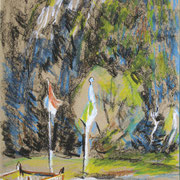 Christel Bachmann . Zimmer frei . 2013 . 48x36cm . Ölpastell auf Papier . 350,00 €
