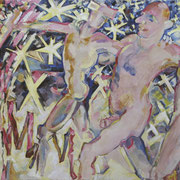 Christel Bachmann . Auftritt der M& Ms . 2012 . 100x195cm . Öl auf Leinwand . 3.000,00 €