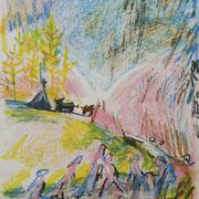 Christel Bachmann . Gruppe auf Wanderschaft . 2013 . 29,5x21cm . Ölpastell auf Papier . 100,00 €