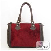 Felltasche Damen Fell Leder Hand Tasche Shopper Satchel rot Handarbeit Casa Mina Design