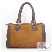 Felltasche Damen Fell Leder Hand Tasche Shopper Satchel Braun Handarbeit Casa Mina Design
