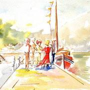 *503- Sur le quai, morceau de tableau 20 x 33