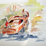 505- Aquarelle d'un bateau anglais amaré au port