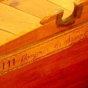 504-1 La vielle barque de pèche, utilisée jadis sur le lac du Bourget, détail