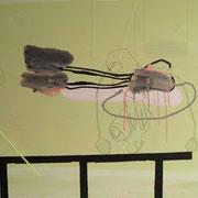 Ohne Titel, 2009, 90 cm 78cm, Acryl, Farbstift auf Maltuch