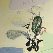 Ohne Titel, 2007, 187 cm x 137 cm, Acryl, Farbstift auf Maltuch