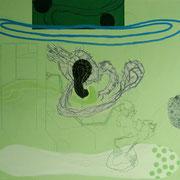 Ohne Titel, 2009, 90 cm x 78 cm, Acryl, Farbstift auf Maltuch