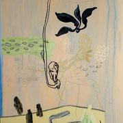 Ohne Titel, 2007, 187 cm x 138 cm, Acryl, Farbstift auf Maltuch